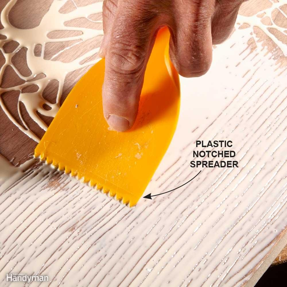 Spread Glue With a Notched Trowel