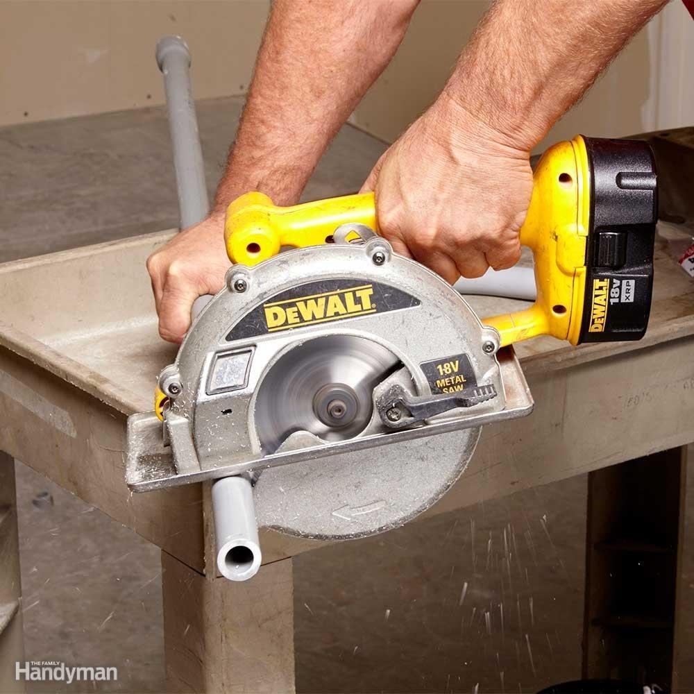 Cut PVC Conduit with a Circular Saw