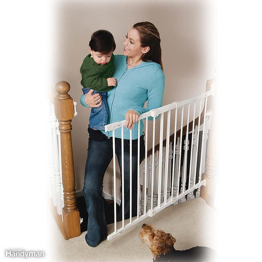Install Hardware-Mounted Safety Gates at the Top of Stairs