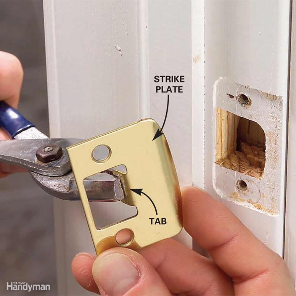 Bend a Strike Plate Tab to Stop a Door Rattle