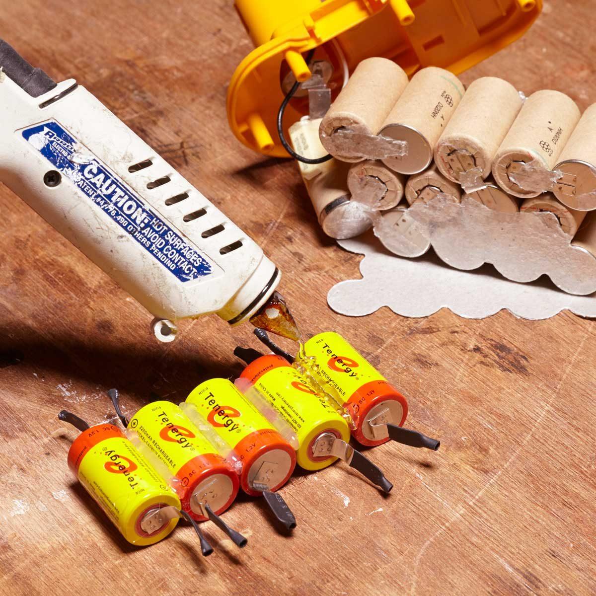 rebuild a cordless tool battery hot glue