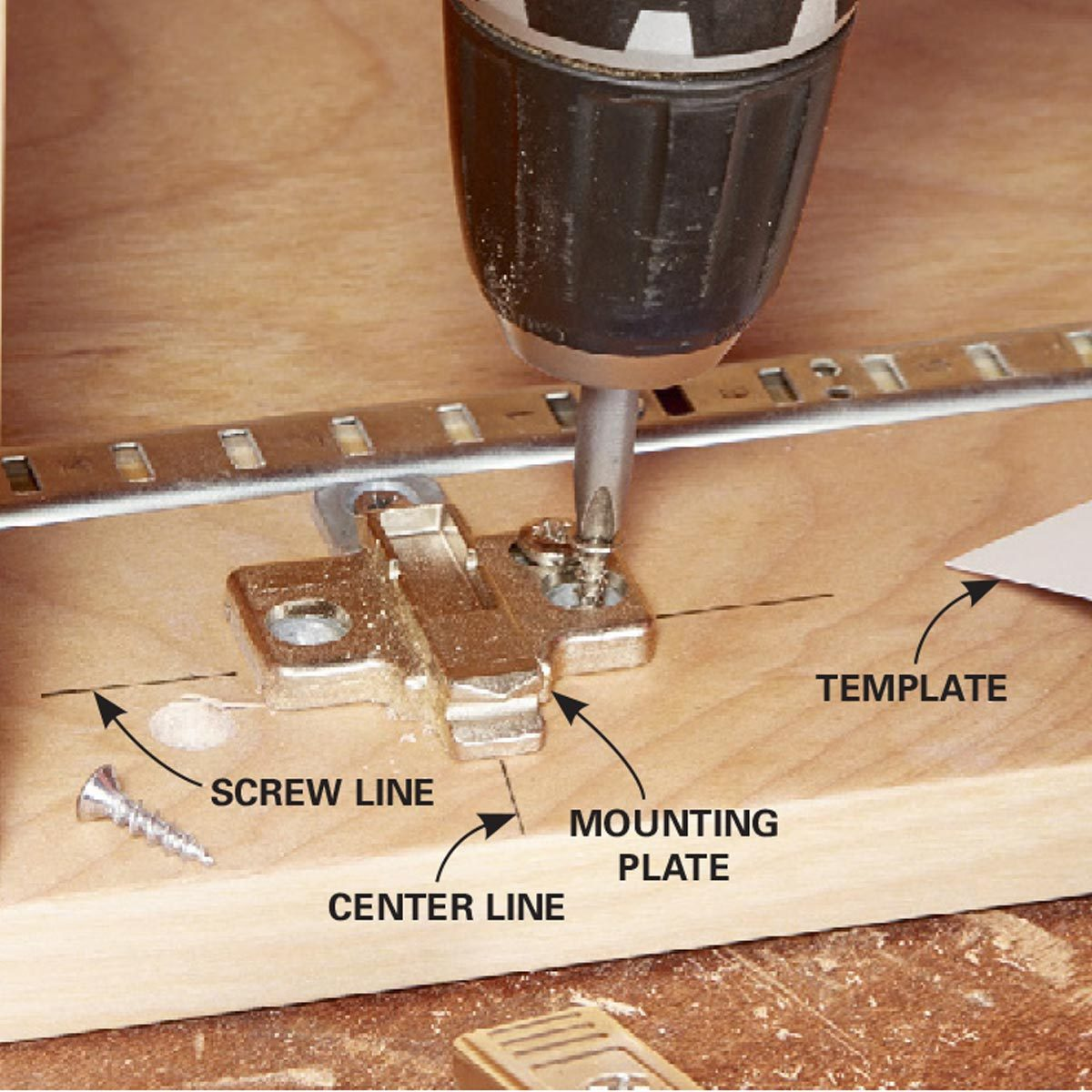 6. Frameless Cabinet Hinges: Install a mounting plate