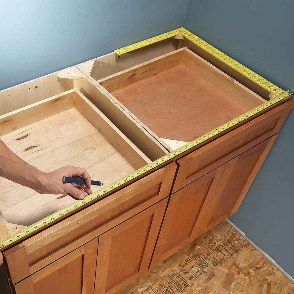 Order countertops after the cabinets are in