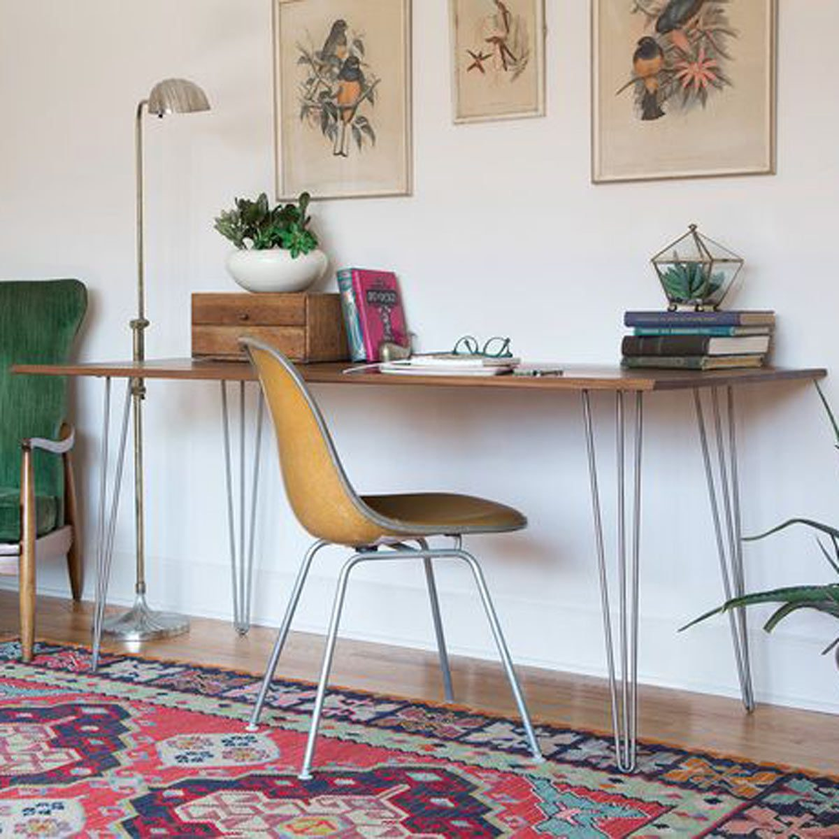 desk with hairpin legs