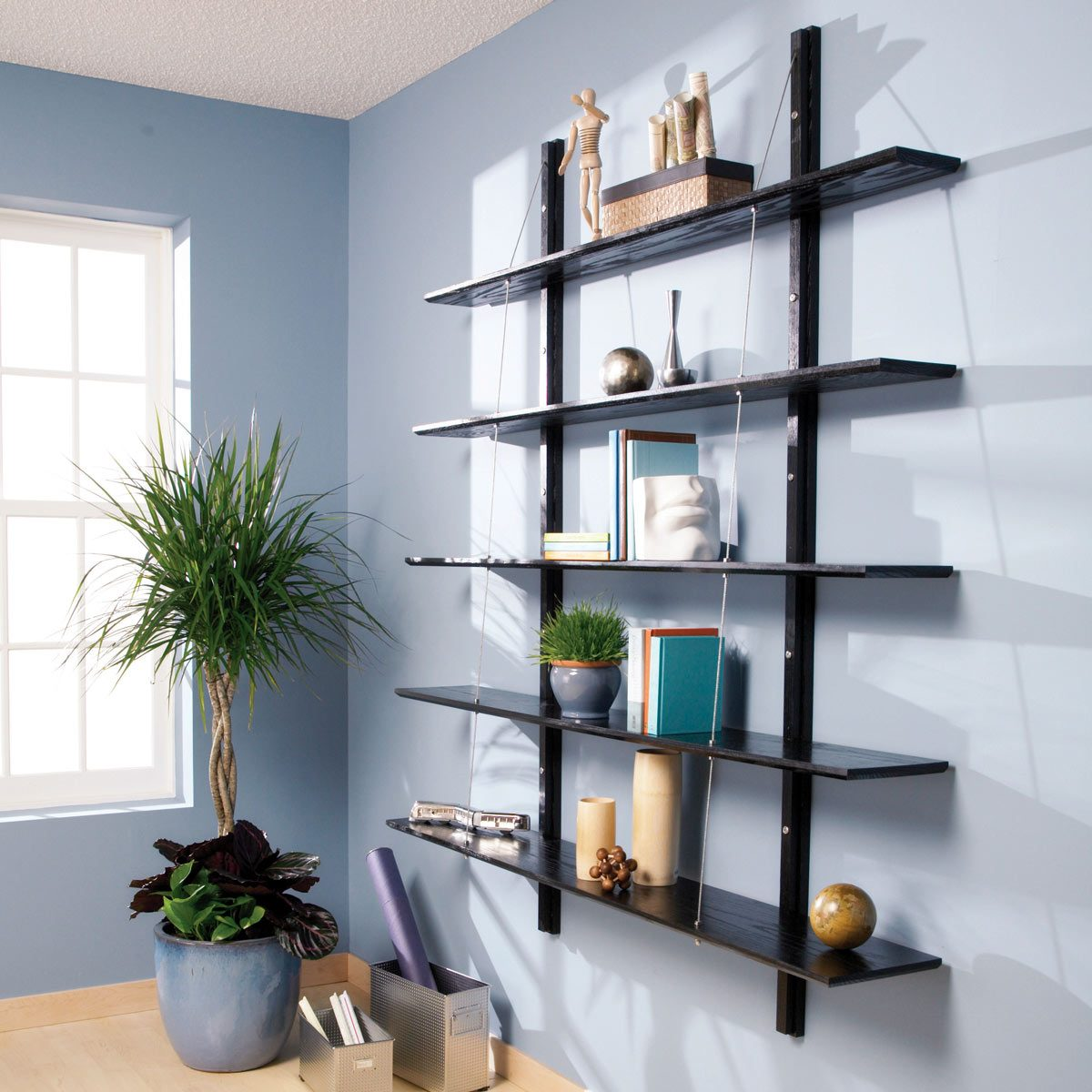 Hanging Wall Bookcase: Suspended Bookshelves