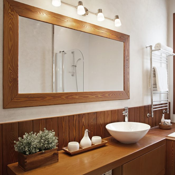how to hang a mirror Modern Residential Home Bathroom with large mirror
