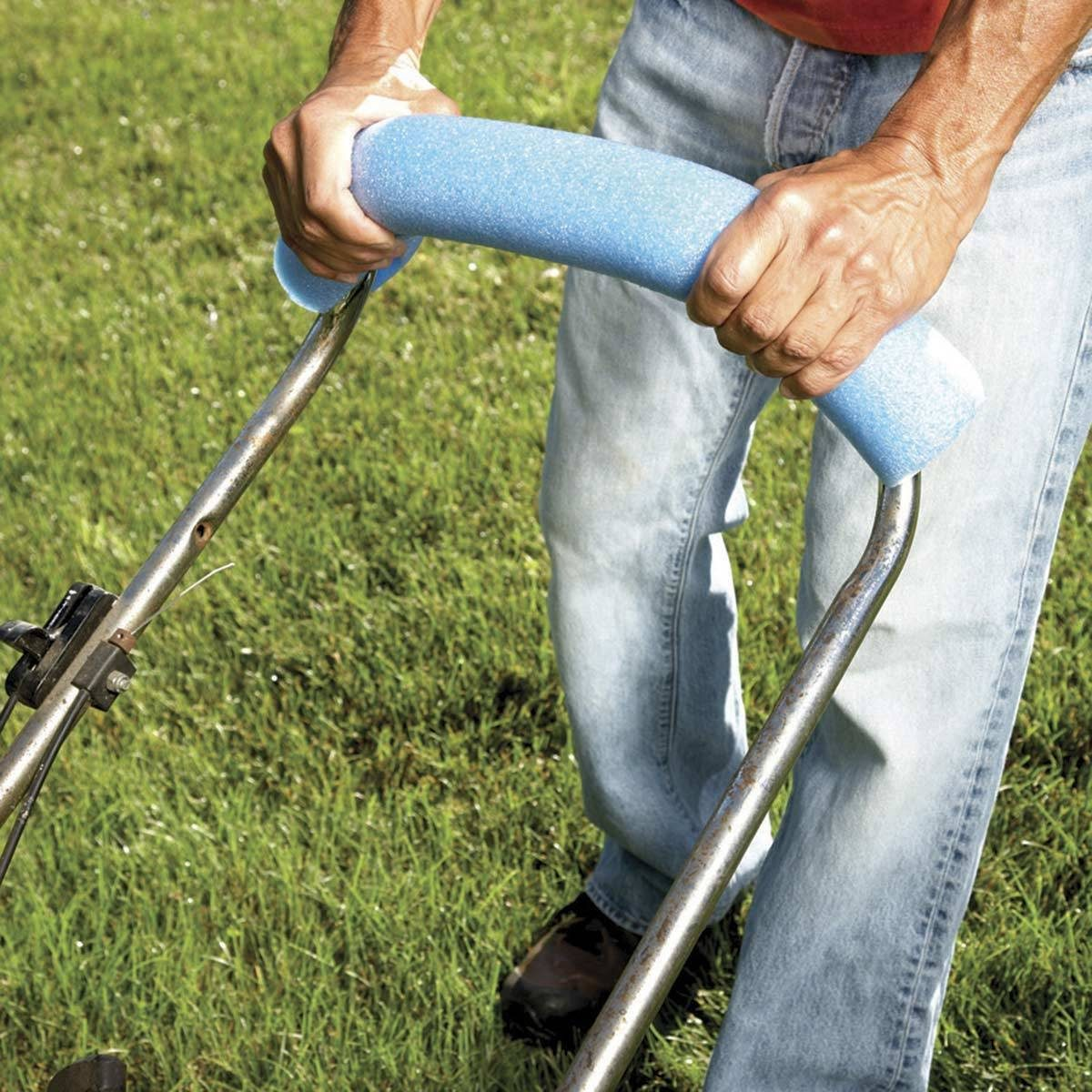 "Myth: ""If I wear lawn aerator shoes while mowing my lawn, I can kill two birds with one stone."""