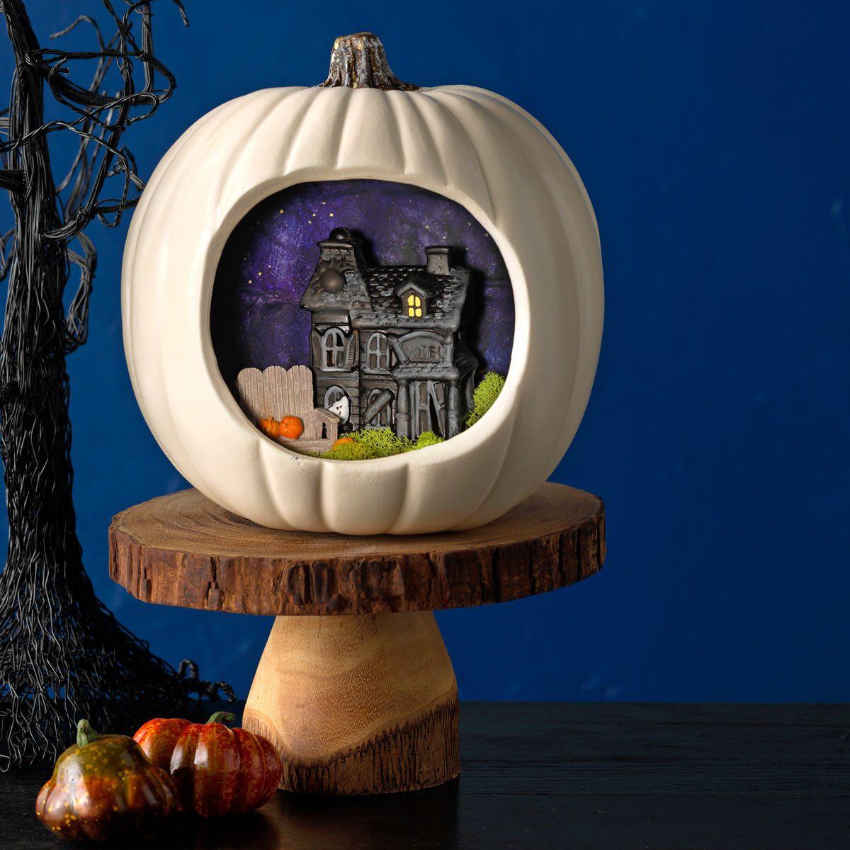 miniature creepy cottage pumpkin project