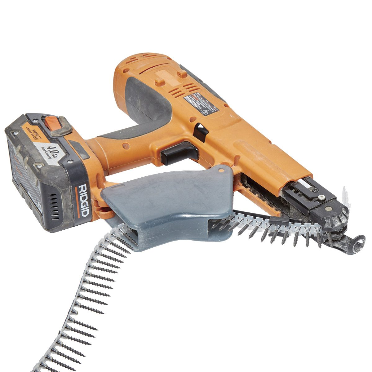 Self-feeding drywall screw gun