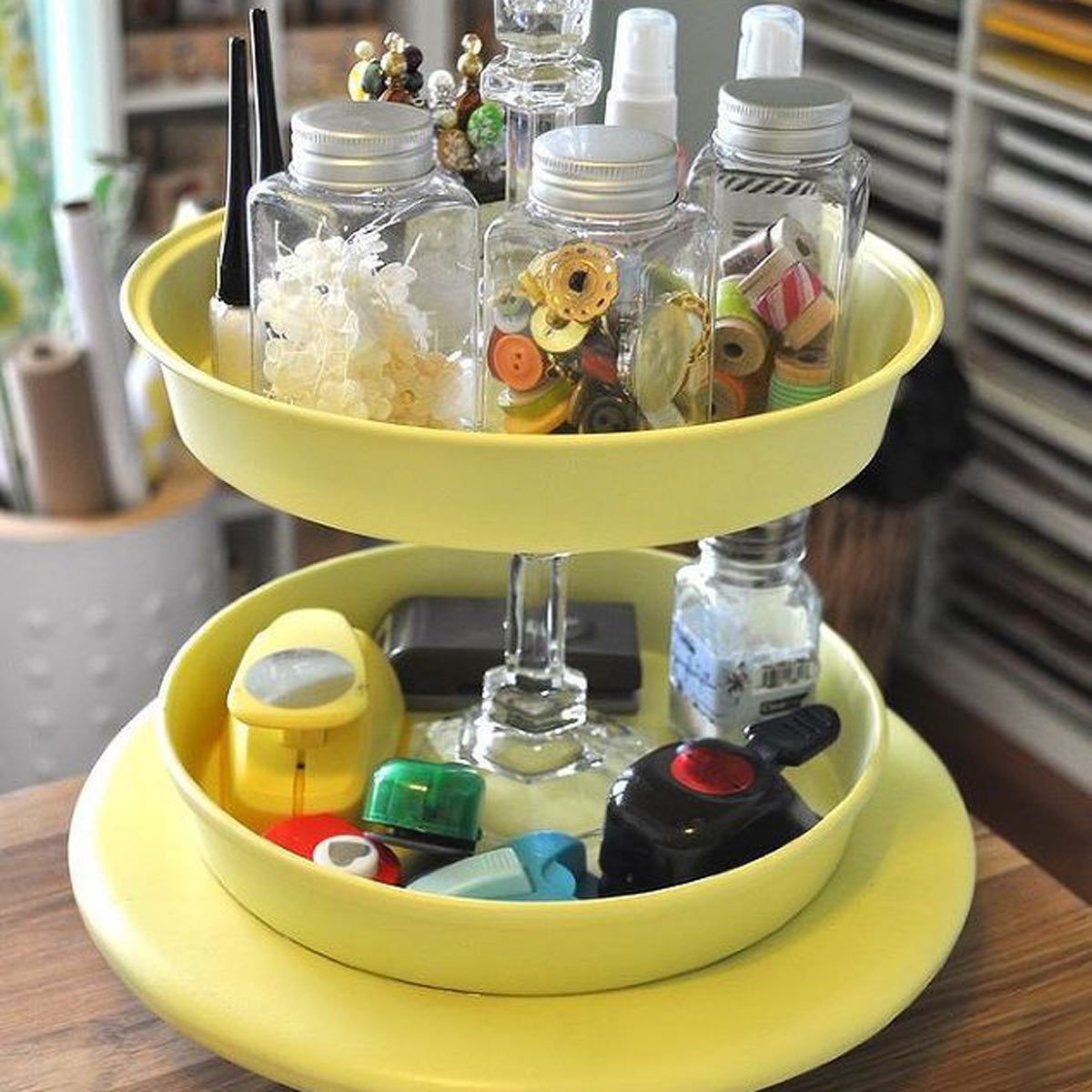 How to be Organized for School: Use a Tiered Cake Stand for School Supplies