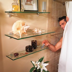 How to Hang Glass Shelves for Bathroom Storage