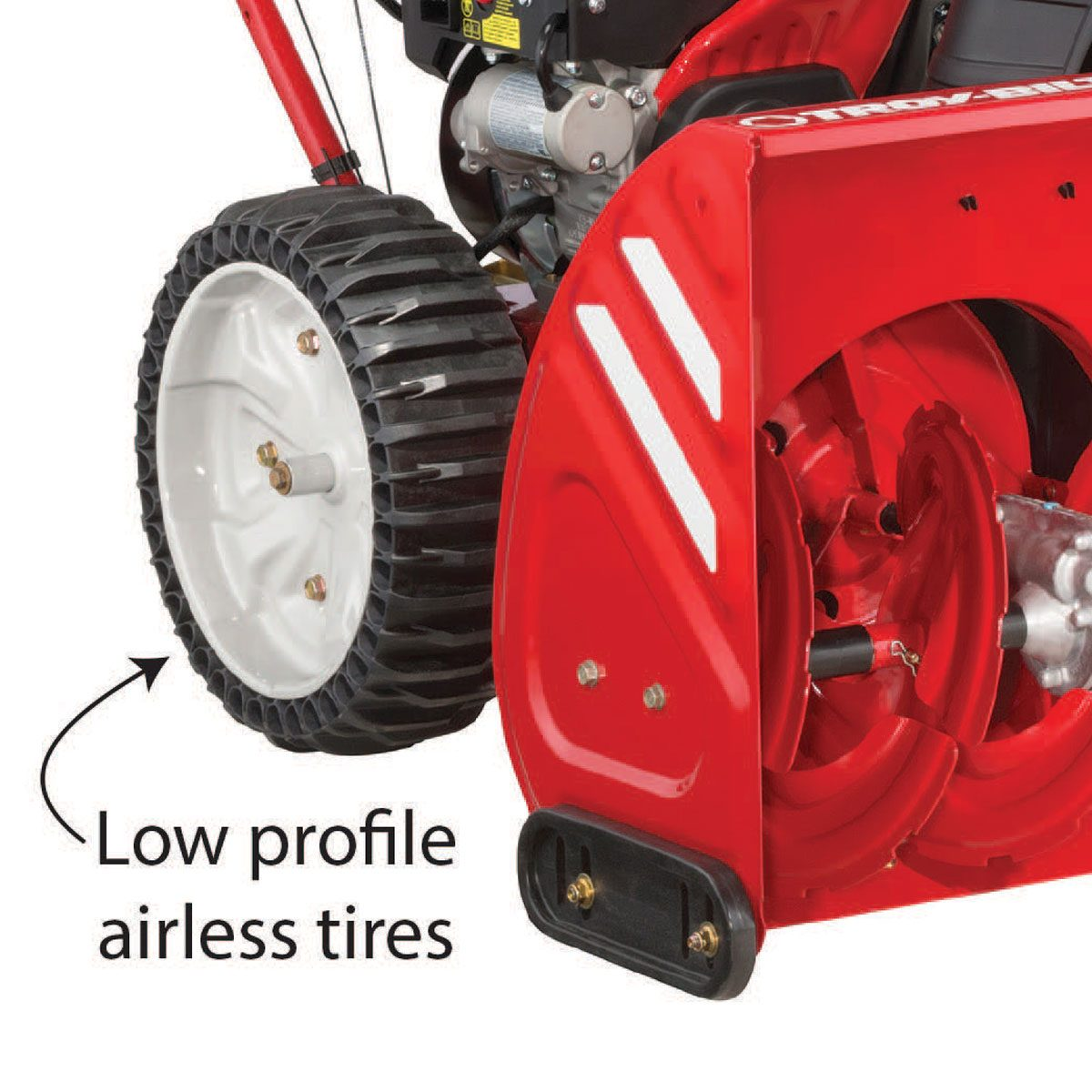 Airless tires are hassle free and keep the snowblower driving straight