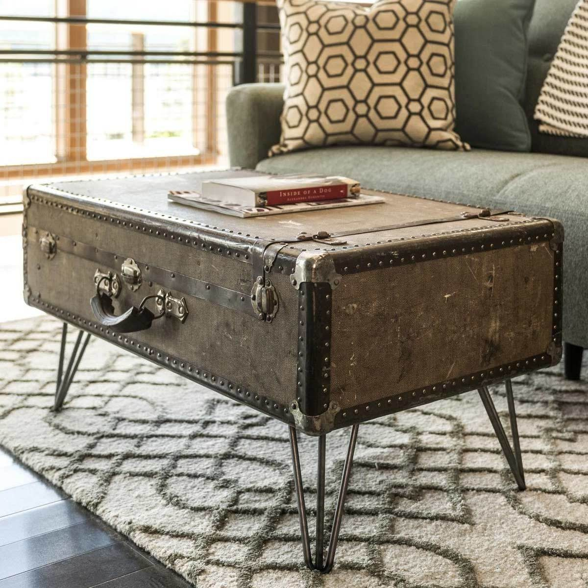 Suitcase Table with Hairpin Legs