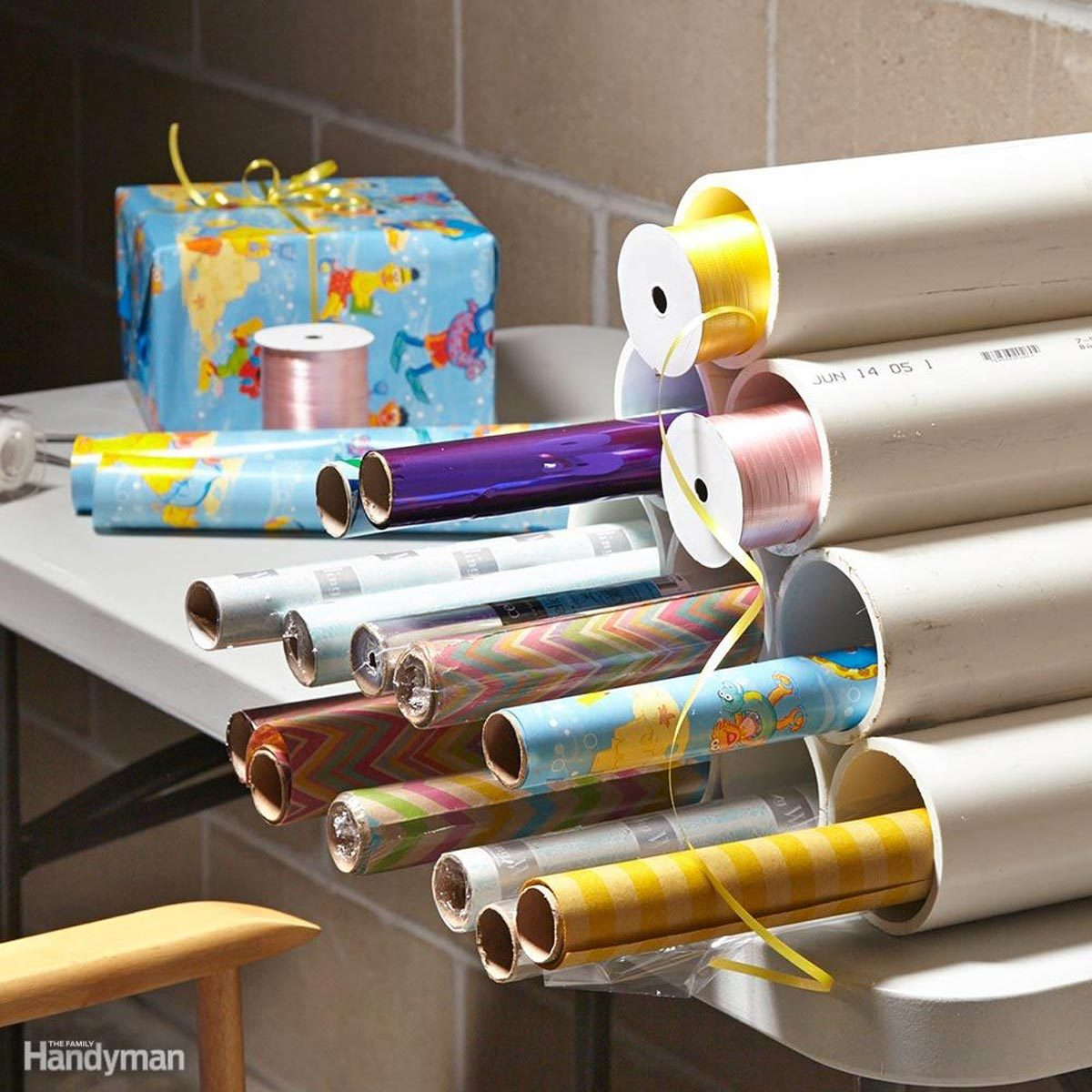 Organize Gift Wrap, Ribbons
