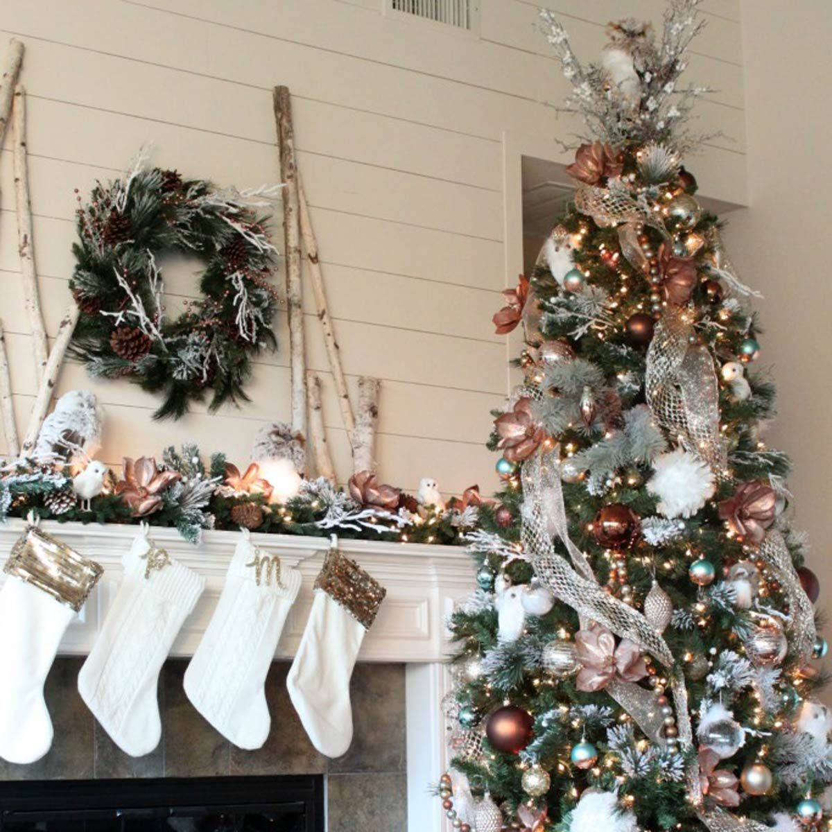 Glam Metallic Farmhouse Christmas Tree