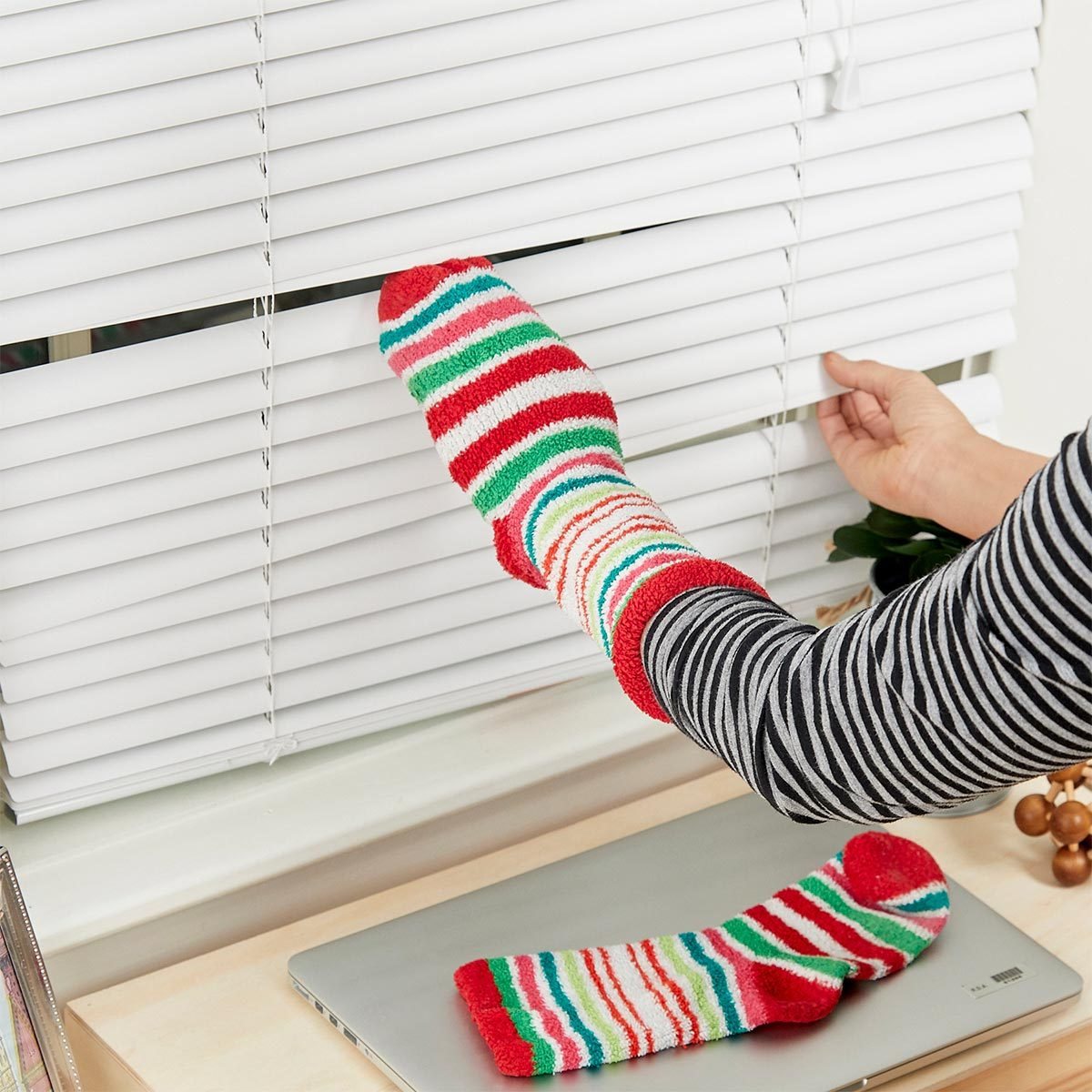 Use Soft Socks to Clean Blinds