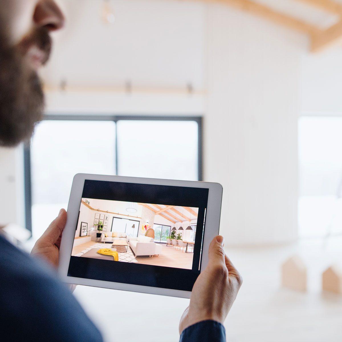 Digital rendering of interior design layout