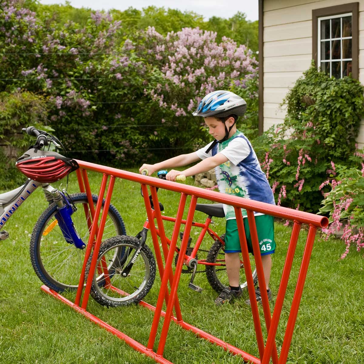 Child using a bike rack