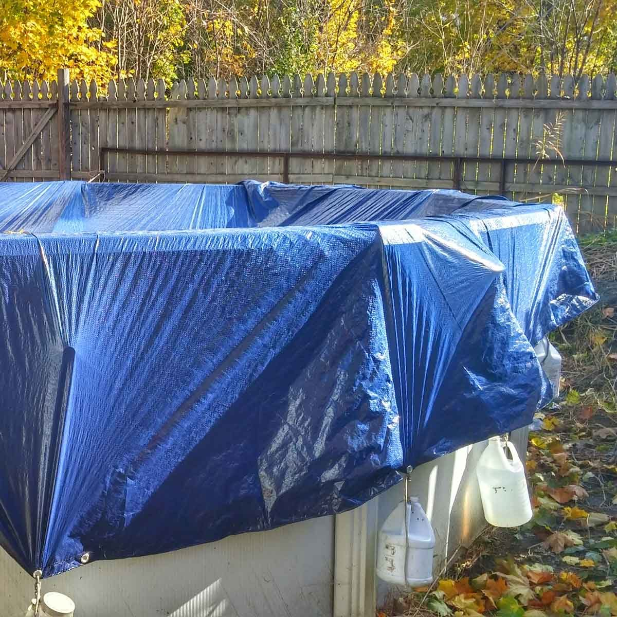 Above ground pool ready for winter