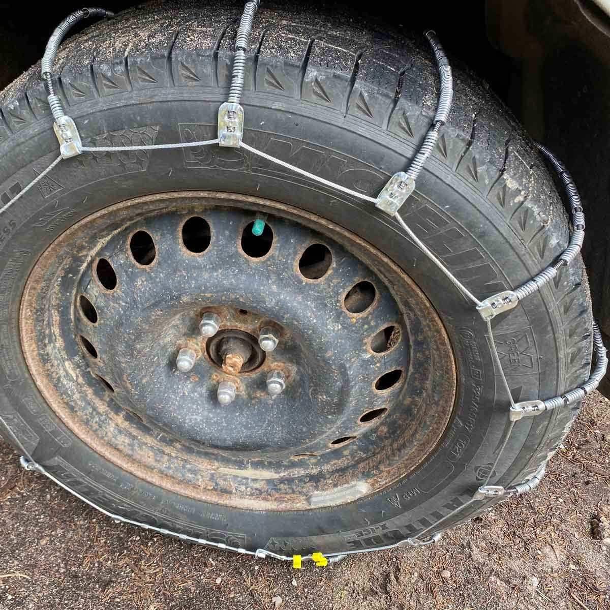 Snow chains on a tire