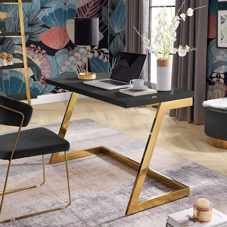 Bold metallic desk