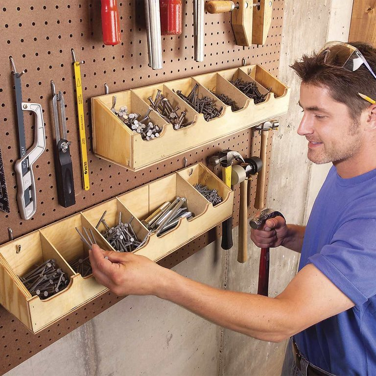 adjustable workshop storage bins