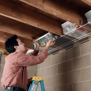 Joist space storage wire shelves