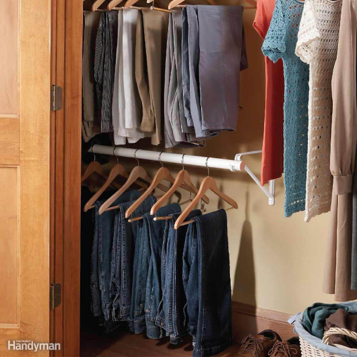 Clothes storage ideas for small spaces: Double-decker closet rod