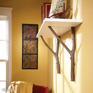 Build a tree branch shelf
