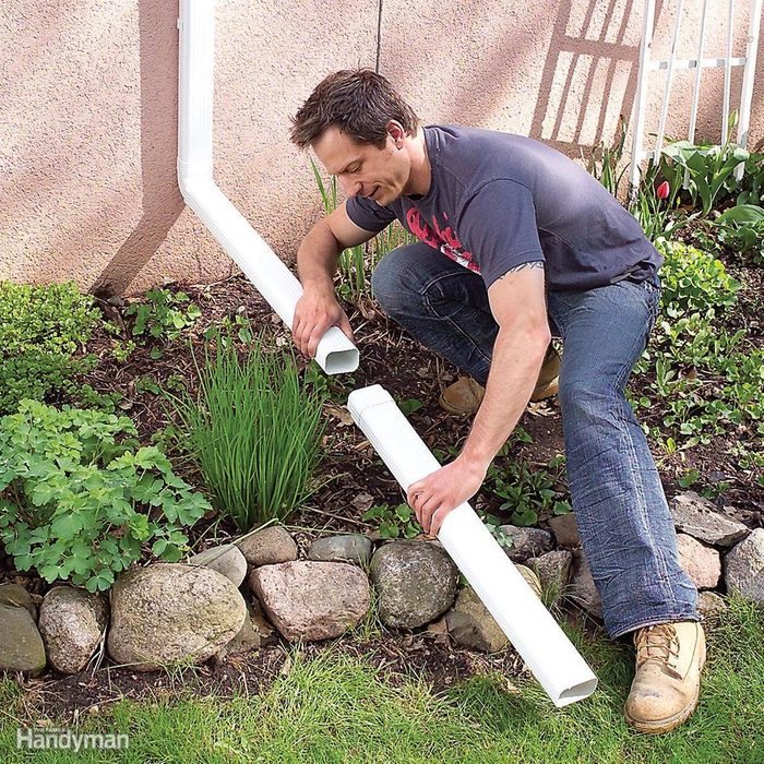 Add 6-ft.-long downspout extensions