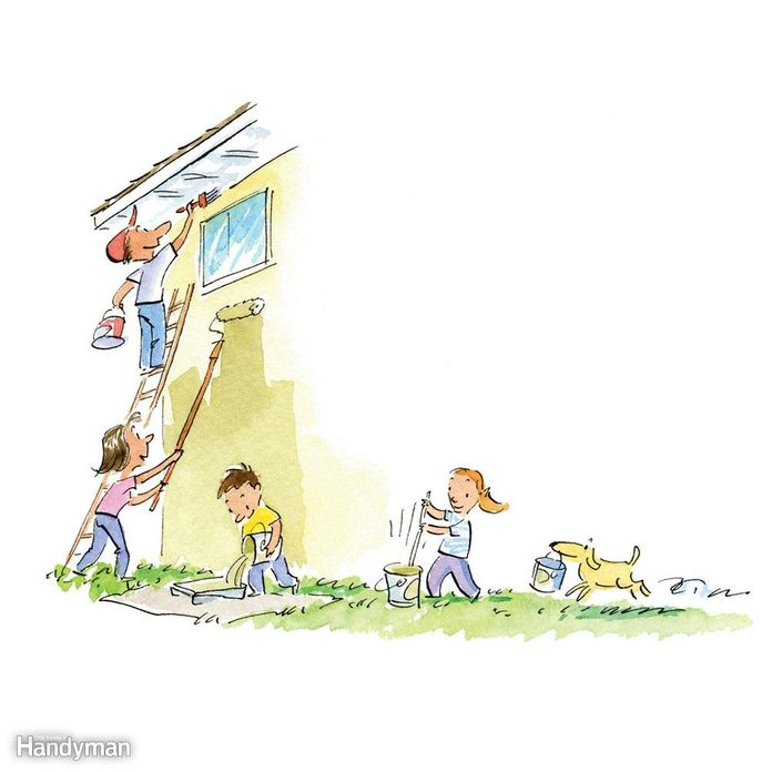 Illustration of family helping to paint a house