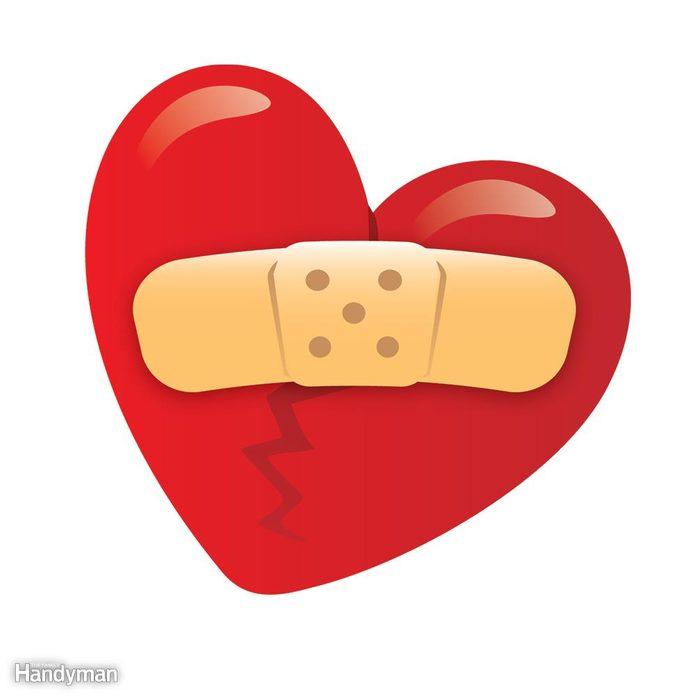 illustration of a bandage over a broken heart