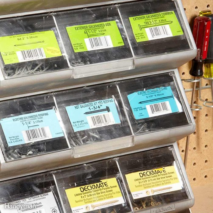 Instant Labels for Parts Drawers