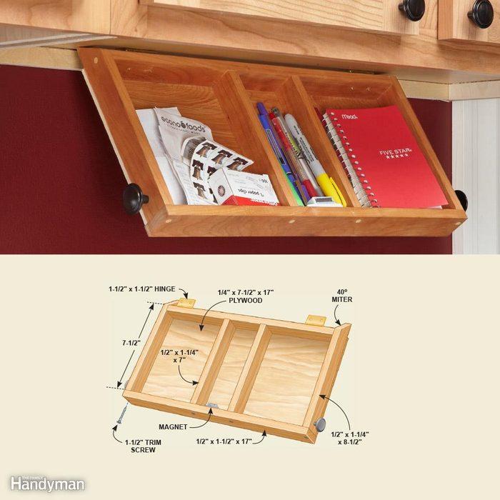 Cabinet Storage Organizers: Flip-Down Paper Tray