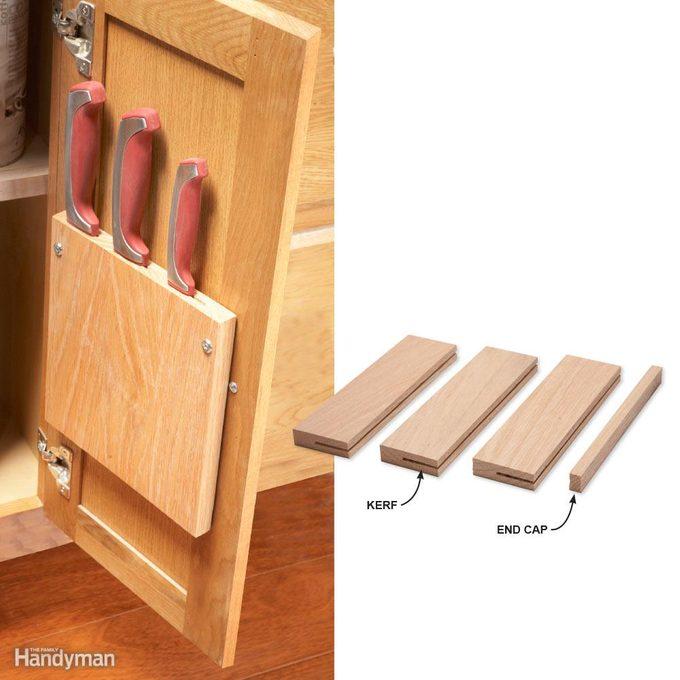 Kitchen Storage: Cabinet Door Knife Rack