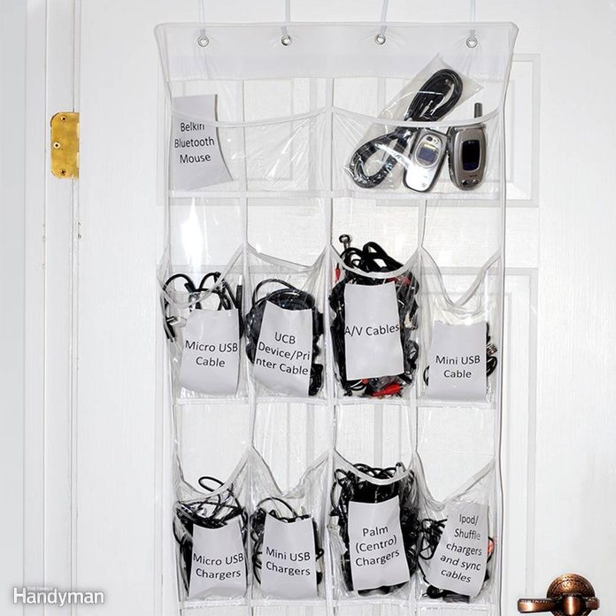 Behind the Door Storage: Charger and Cord Pockets