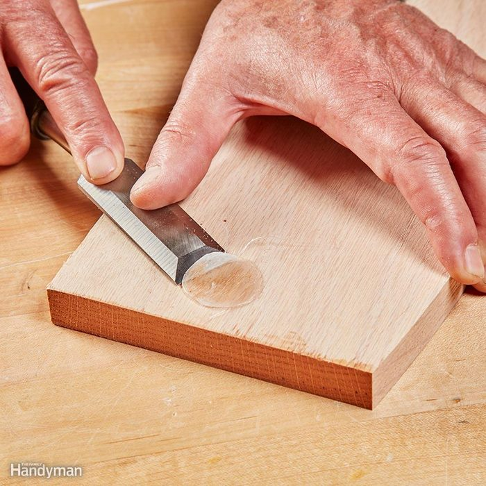 Remove Leftover Glue with a Chisel