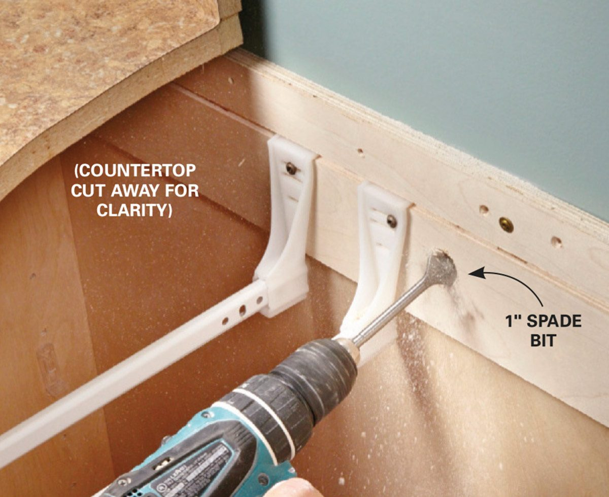 drill holes for outlet cables