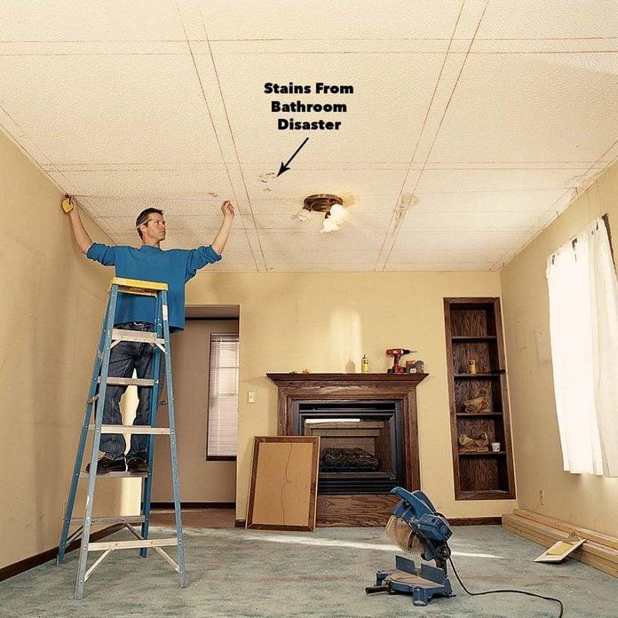 mark ceiling panel grid on ceiling