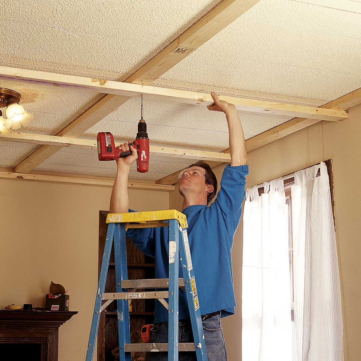 add crossing 2x4s ceiling panels