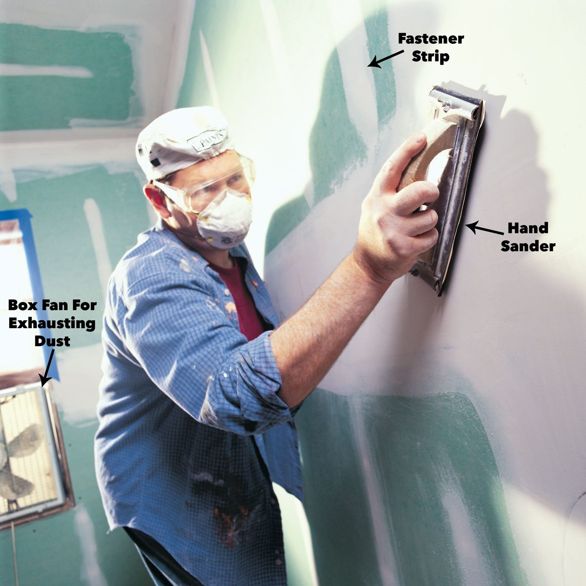 sand drywall with hand sander