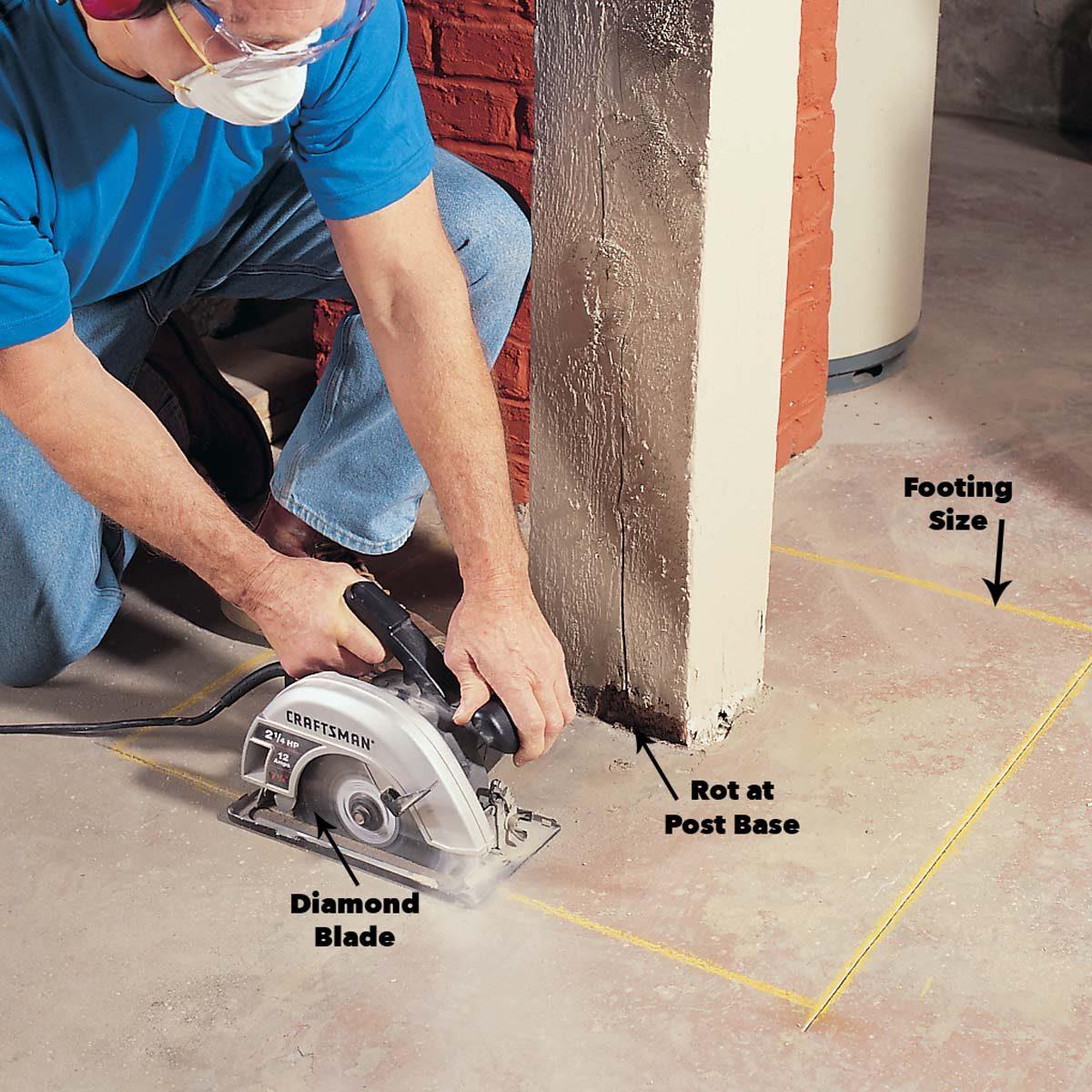 repair a load bearing post rotting post removal