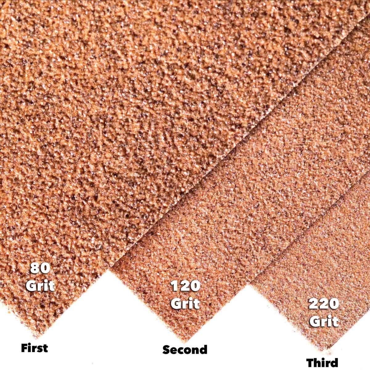 3 grits of sandpaper