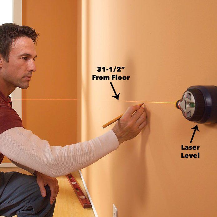 establish a level line wood wainscoting panels