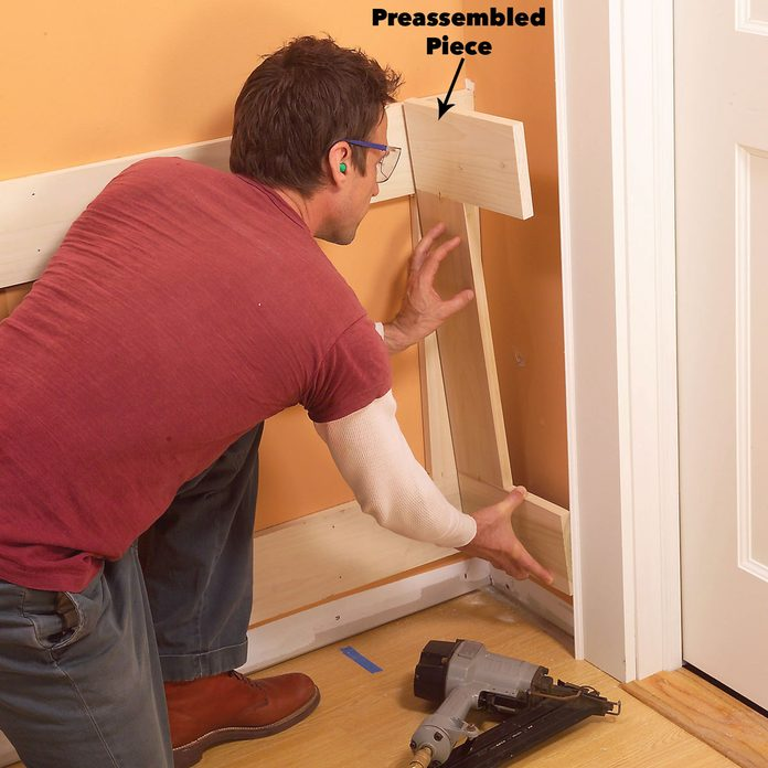 Preassemble small wainscoting sections