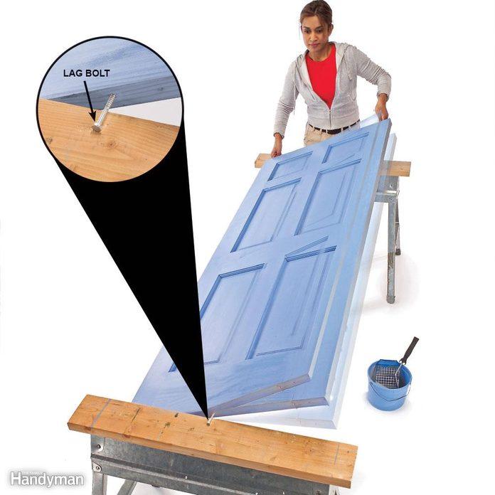 Lay the door flat to avoid drips and runs