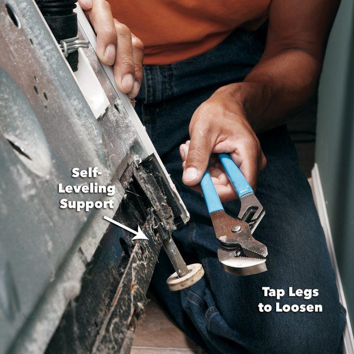 level rear legs of washing machine