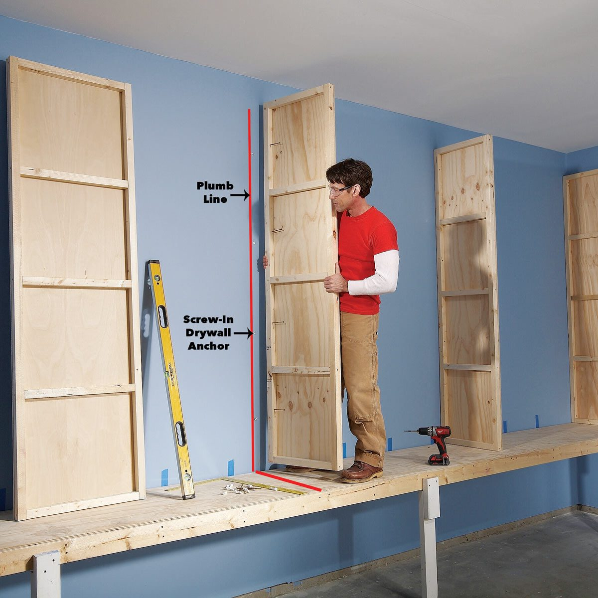 attach uprights garage cabinets