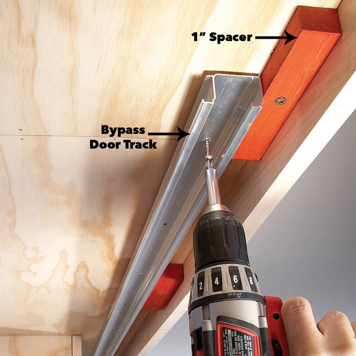 fasten tracks sliding cabinet doors diy