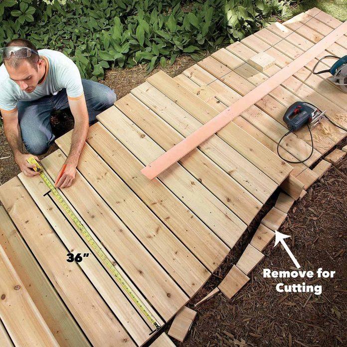 cut the opposite side boardwalk